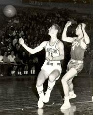 Cohen playing basketball, 1957