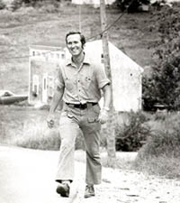 Cohen on first walk across Maine, 1972