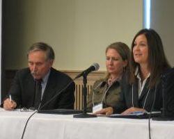Mark Woodward, Kelly Hokkanen and Amanda Wood during panel one