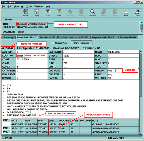 Screen shot of order record