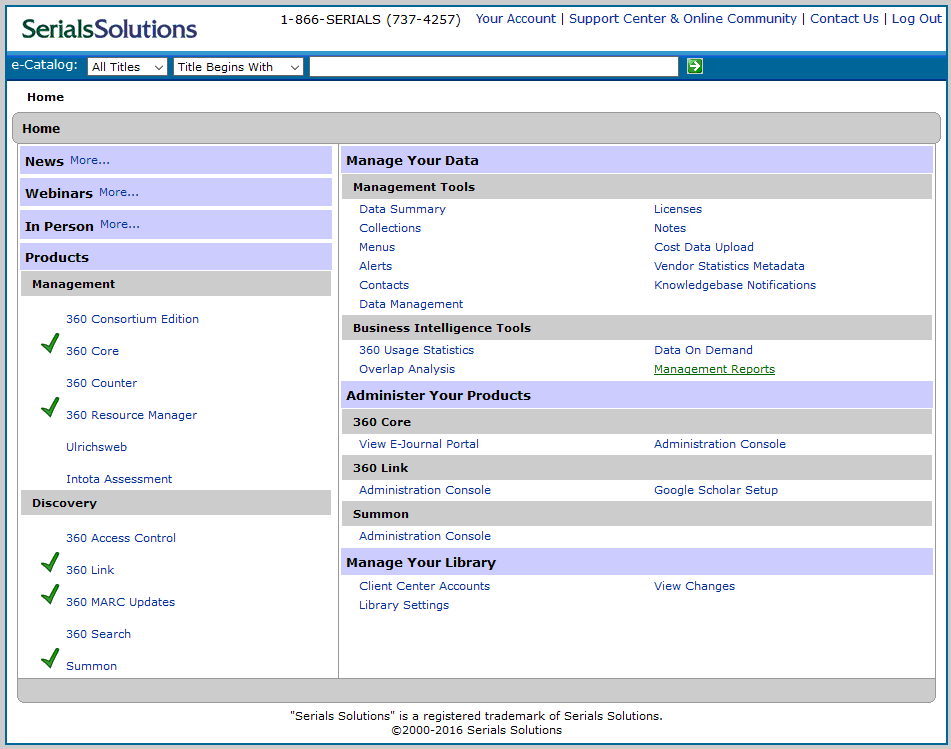 SerialsSolutions opening screen for knowledge base portal