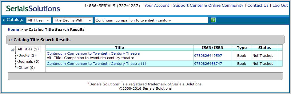 Serials Solutions title search results screen