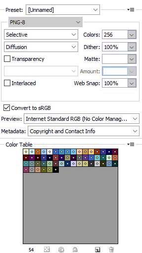 Screenshot of Photoshop Save for Web