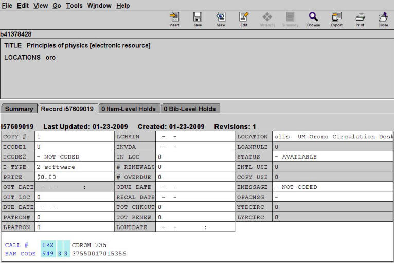 Example of CD-ROM Item Record