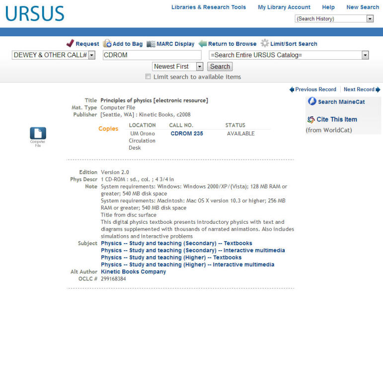 Example of CD-ROM in URSUS