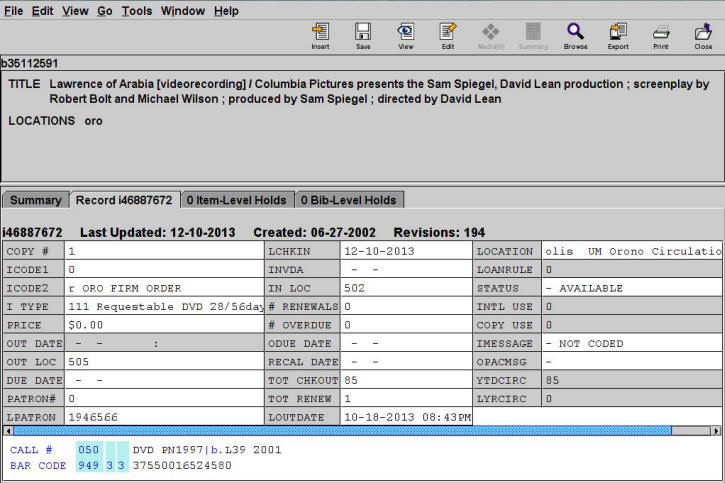 Example of DVD Item Record
