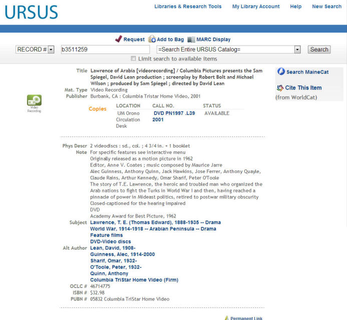 Public View of DVD Record in URSUS