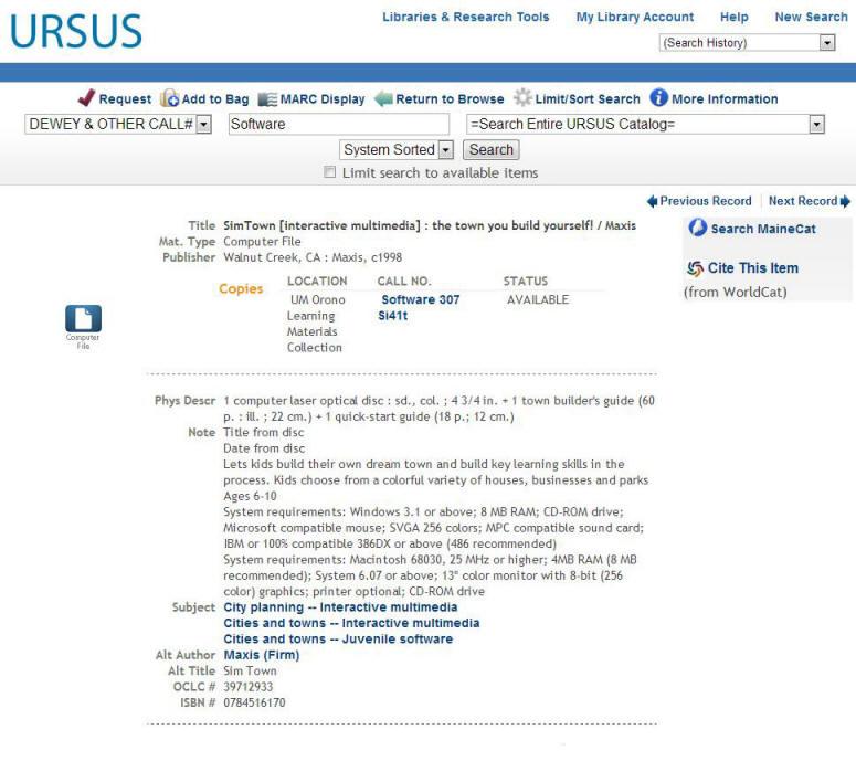 Example of Floppy Disc in URSUS