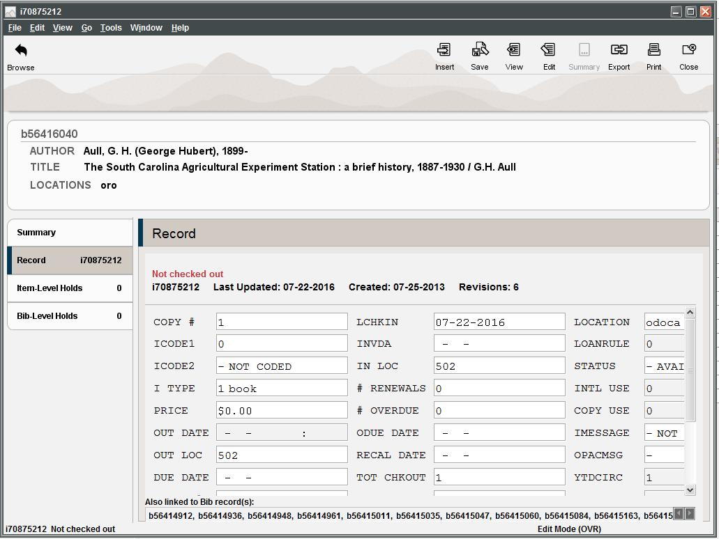 Sierra item record showing cross linking