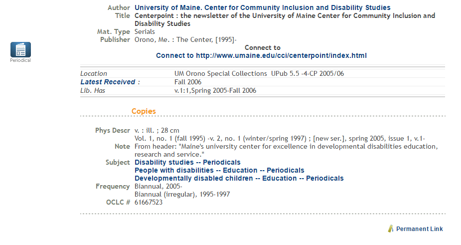 Call number example for University Publications 2