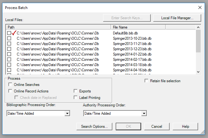 Batch processing search in Connexion