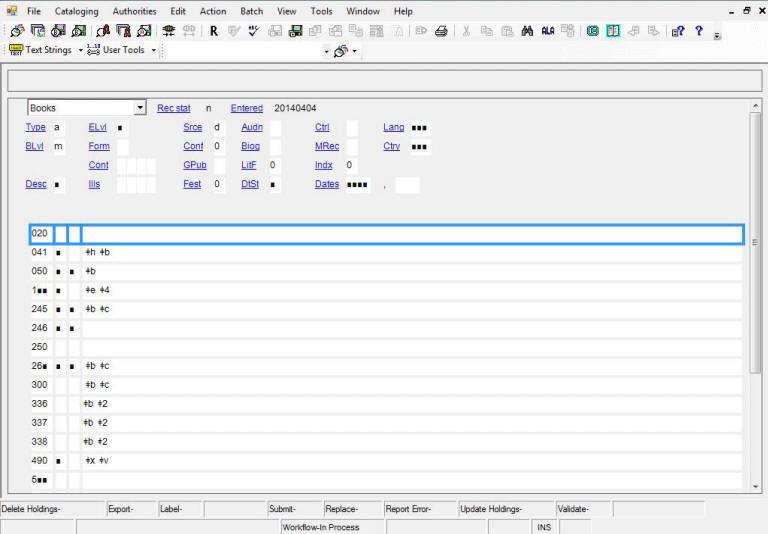 Example of blank constant data workform in OCLC Connexion