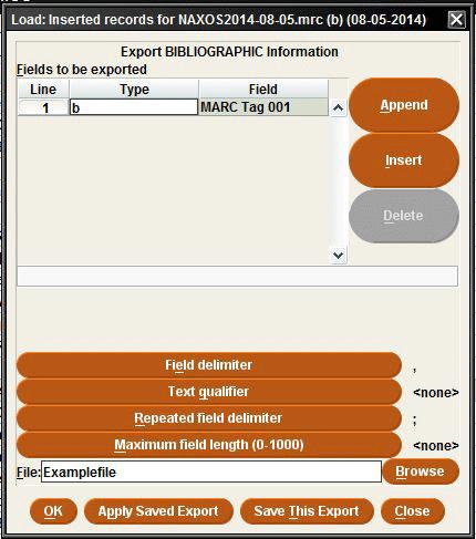Sierra Export Dialog Box For OCLC Batch Deletion