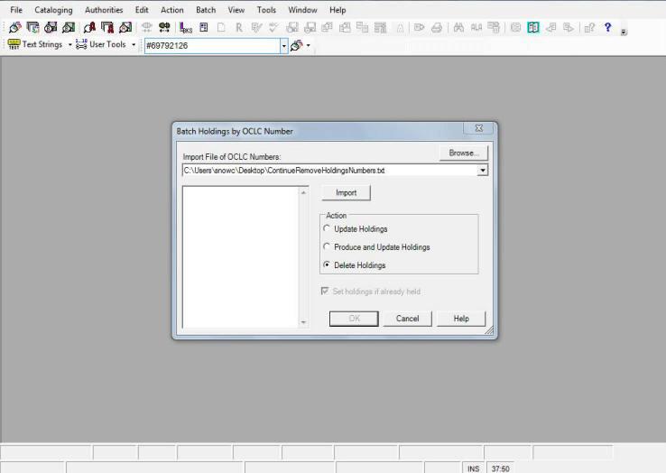 OCLC Batch Delete Dialog Box