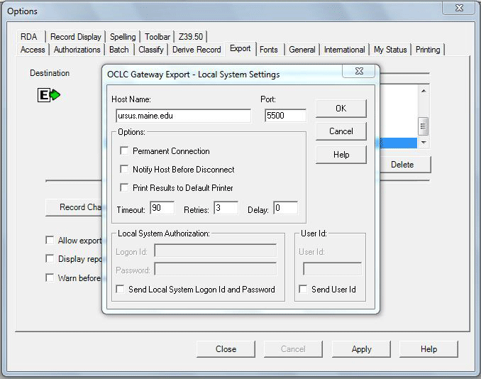 Export settings for Connexion client